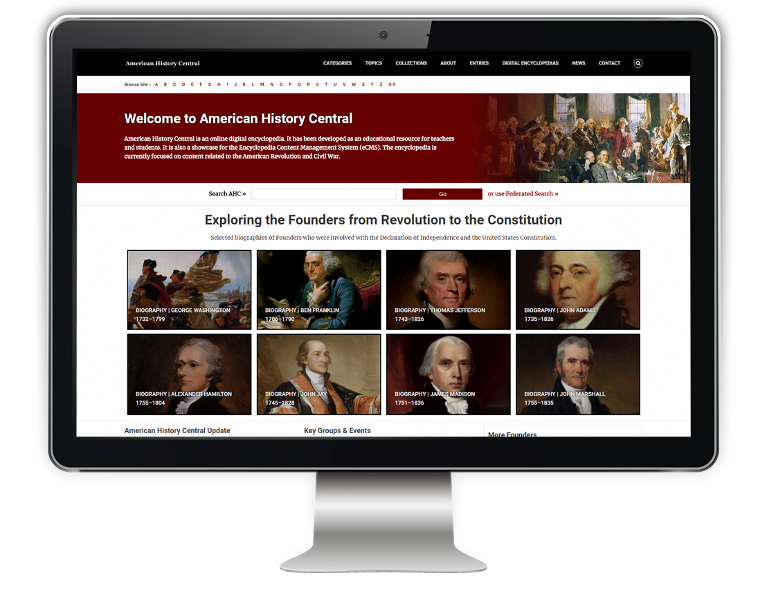 Screenshot of the American History Central Home Page